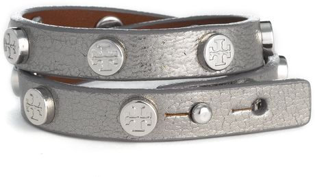 Tory Burch Double Wrap Logo Bracelet in Silver