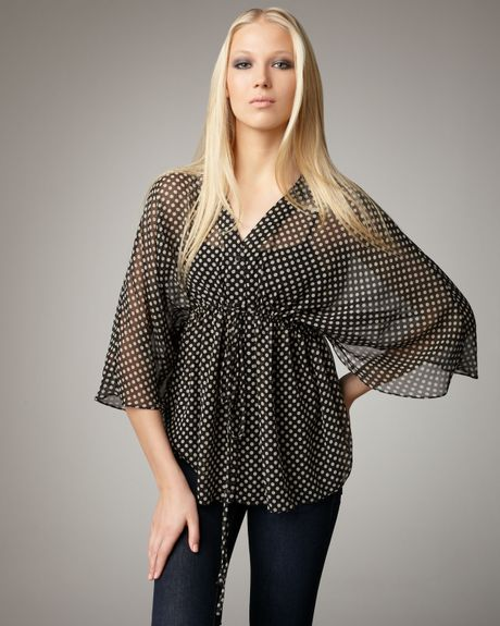 Alice + Olivia Julia Polkadot Top in Black - Lyst