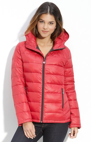 Calvin Klein Packable Down Jacket With Hood In Red Lyst