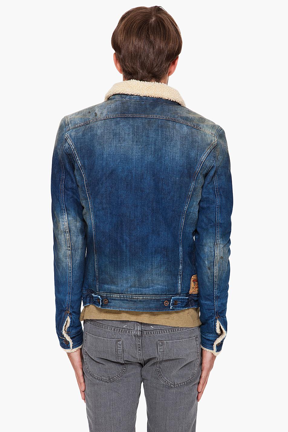 Lyst Diesel Faux Fur Lined Denim Jacket In Blue For Men