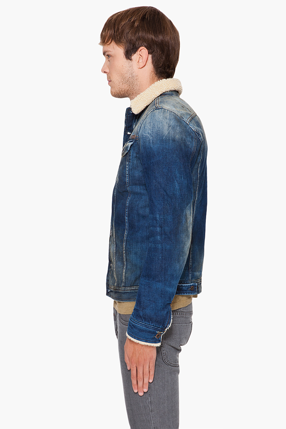Lyst Diesel Faux Fur Lined Denim Jacket In Blue For Men