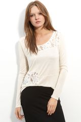 Ella Moss Hope Lace Detail Long Sleeve Top - Lyst