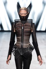 Gareth Pugh Spring 2012 Structured Cut-Out Jacket With Oversized Separate Collar And Separate Sleeves In Black - Lyst