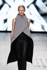 Gareth Pugh Spring 2012 Black And White Long Asymmetric Sleeveless Coat With High Collar in Black - Lyst