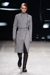 Gareth Pugh Spring 2012 Black And White Asymmetric Long Coat With High Collar
