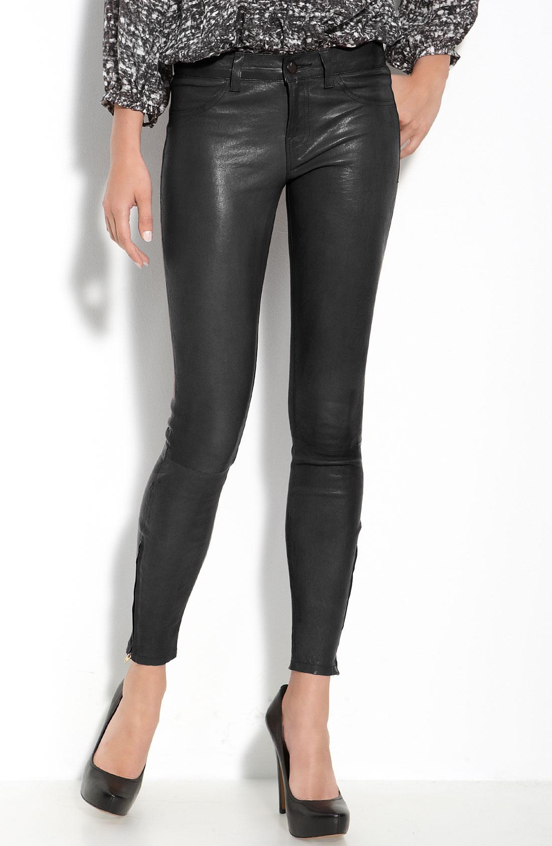 d591856fbc2c12 J brand Lambskin Leather Pants in Black | Lyst