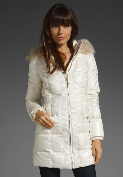 Juicy Couture Shimmer Puffer Coat With Faux Fur Hood In