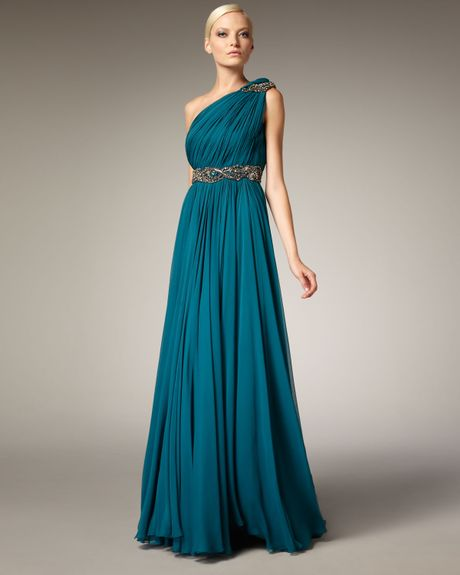 Marchesa Couture Grecian One-shoulder Gown in Blue (teal) - Lyst