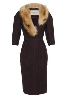 Nina Ricci Metalized Virgin Wool-blend Coat with Fur Collar - Lyst