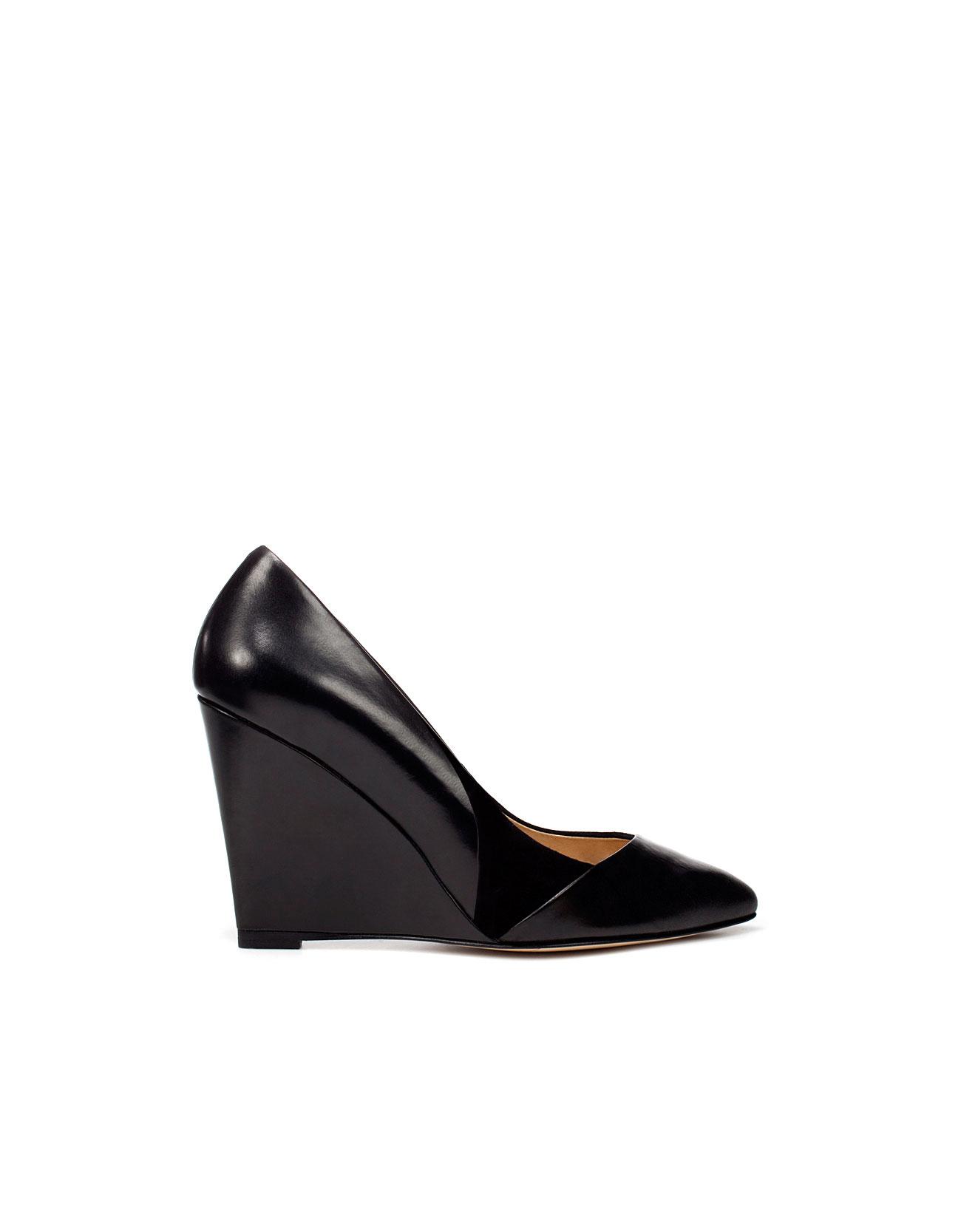 zara pointed wedge court shoe in black lyst