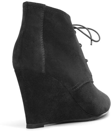 zara wedge lace up ankle boot in black lyst