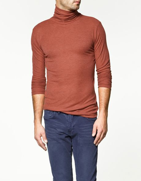 Zara ribbed polo neck t shirt in brown for men russet lyst for What is polo neck t shirts