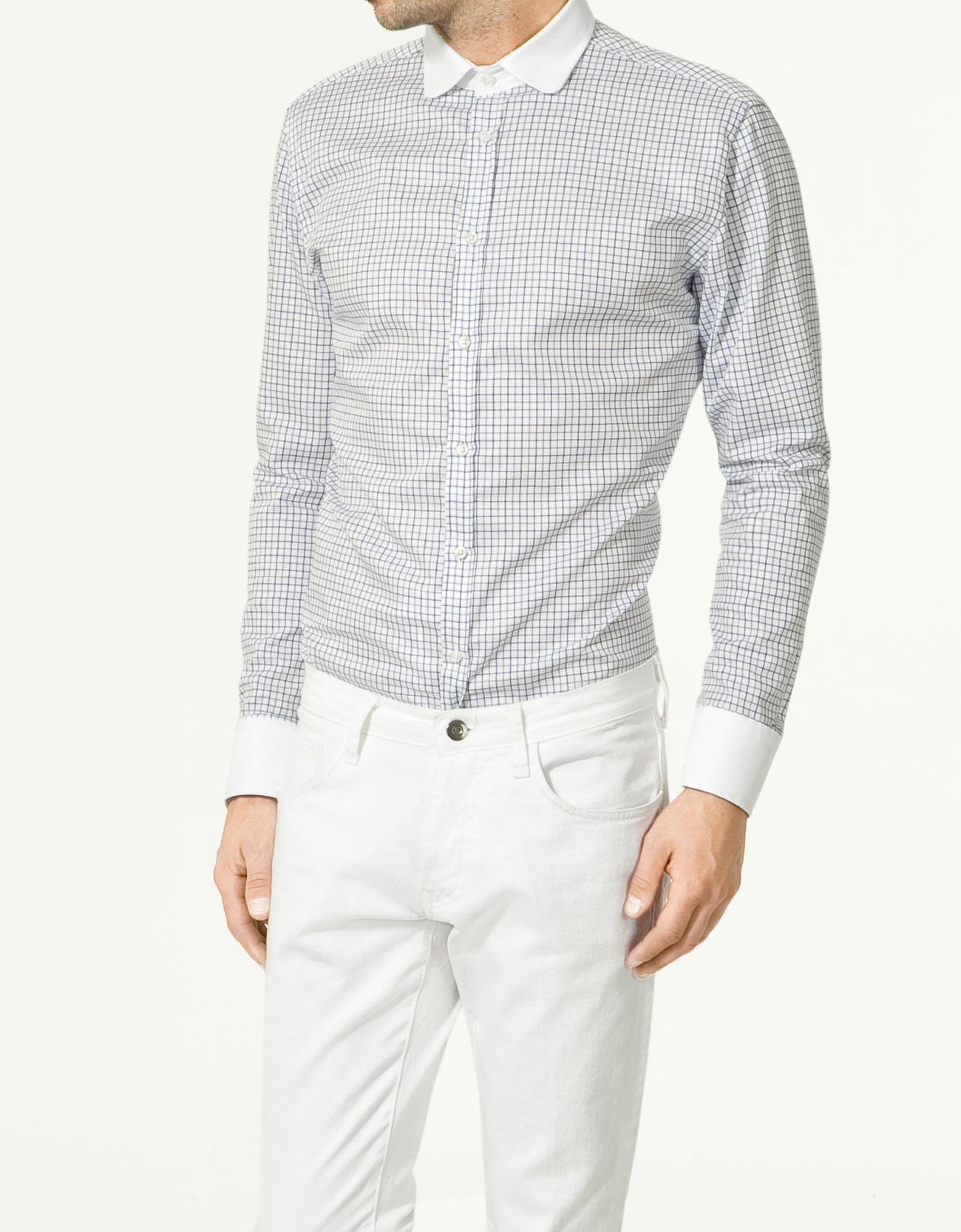 zara club collar shirt in white for men lyst