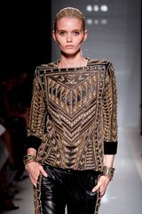 Balmain Spring 2012 Gold Embroided Detail Leather Wide Leg Pants - Lyst