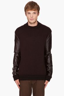 Givenchy Crewneck Leather Sleeve Sweater - Lyst