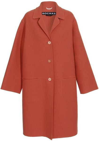Rochas Doubleface Wool Coat in Orange - Lyst
