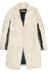 Sandro Leather-paneled Shearling Coat - Lyst