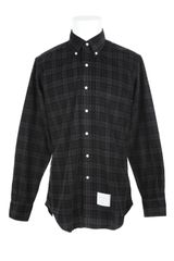 Thom Browne Check Velvet Cotton Long Sleeves Shirt - Lyst