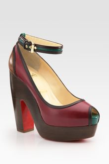 Christian Louboutin Minimi Colorblock Leather Peep Toe Platform Pumps - Lyst