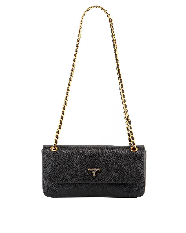 93c32c88ed Lyst - Prada Saffiano Lux Chain Shoulder Bag in Black