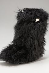 Prada Tall Eco-fur Buckle Boot - Lyst