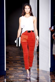 Balenciaga Spring 2012 Red High Waist Pants With Front Horrizontal Pleats - Lyst