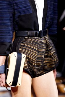Balenciaga Spring 2012 Black And Yellow Pattern High Waist Mini Shorts - Lyst