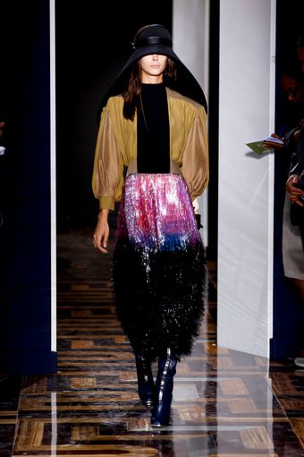 Balenciaga Spring 2012 Shimmery Mid Length Fringe Skirt In Purple & Black - Lyst