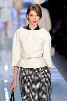 Dior Spring 2012 White Gazar Blouse with Organza Collar - Lyst