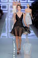 Dior Spring 2012 Sheer Dress with Midriff details and Chiffon Layered Skirt in Black - Lyst