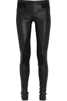 Helmut Lang Leather and Stretch-jersey Leggings - Lyst