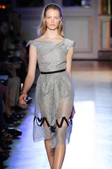Roland Mouret Spring 2012 Sheer Hourglass Dress With Ribbon Details In Light Grey