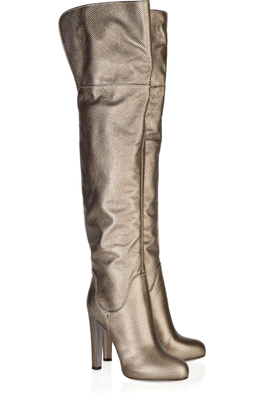 Sergio rossi Metallic Leather Over-the-knee Boots in Metallic | Lyst