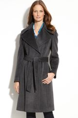 Calvin Klein Wool Blend Wrap Coat - Lyst