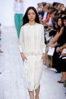 Chloé Spring 2012 Long Sleeve Belted Dress with Pleats and Perforated Details - Lyst