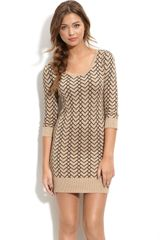 Frenchi® Ribbed Trim Knit Dress - Lyst