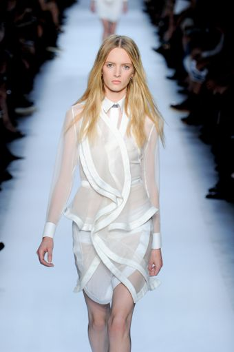 Givenchy Spring 2012 Sheer Peplum Dress with Undulating Satin Trimmed Lapel - Lyst