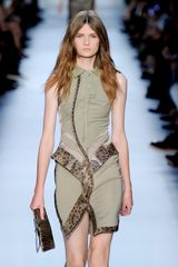 Givenchy Spring 2012 Sleeveless Mini Dress In Khaki With Polo Shirt Collar and Animal Print Leather Trimmings