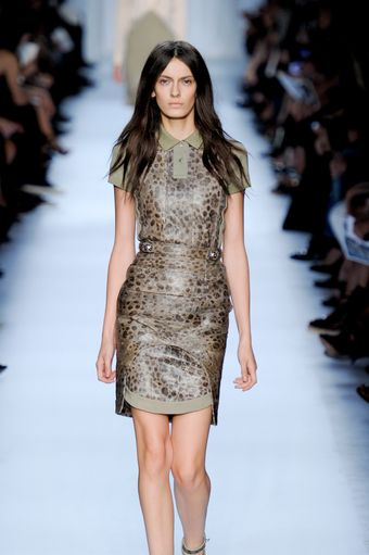Givenchy Spring 2012 Animal Print Short Sleeve Polo Top Dress In Green - Lyst