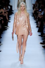 Givenchy Spring 2012 Sequinned Laser Cut Asymmetrical Dress With Raised Rounded Hem In Peach
