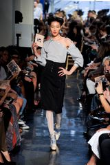 Jean Paul Gaultier Spring 2012 Black Stripey Asymmetrical Off-The-Shoulder Blouse - Lyst