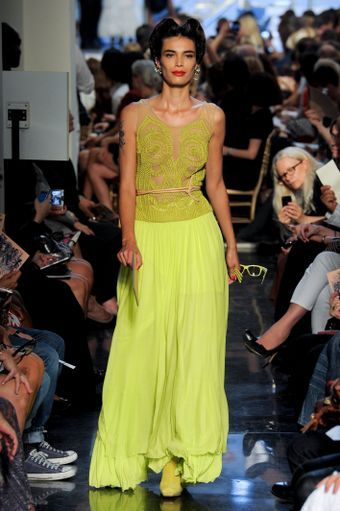 Jean Paul Gaultier Spring 2012 Green Silk Cord Embroidered Tulle Bodice - Lyst