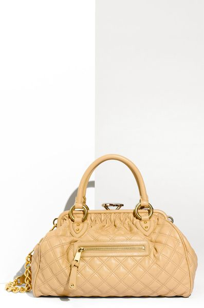 Marc Jacobs Quilting Stam Leather Satchel in Beige (camel) - Lyst