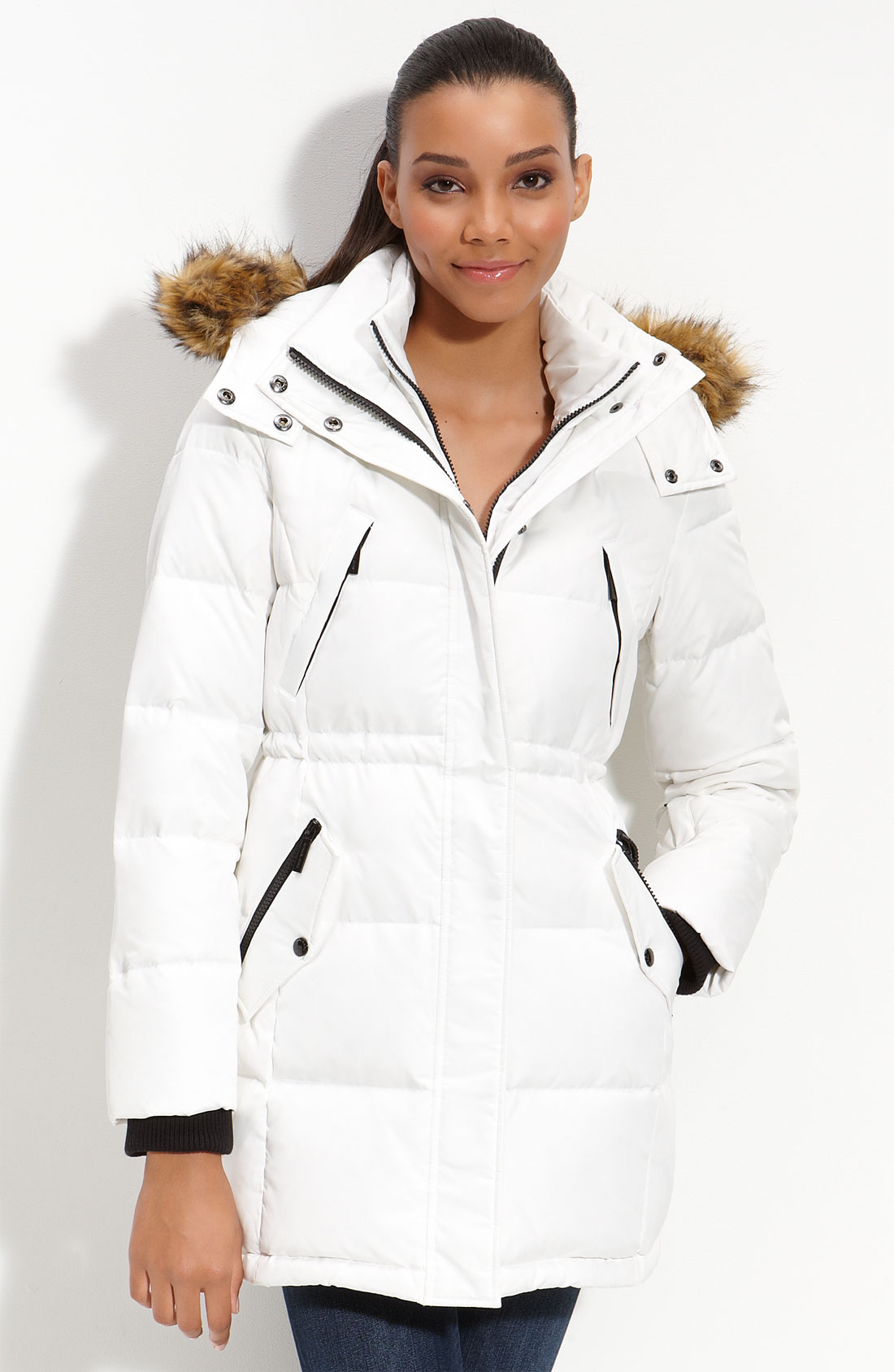 Michael Michael Kors Quilted Down Anorak With Faux Fur