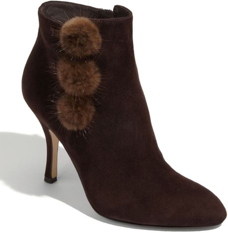 Via Spiga Prudence Genuine Mink Fur Trim Bootie in Black (tmoro) - Lyst