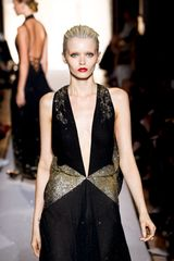 Saint Laurent Spring 2012 Black Halterneck Deep V Evening Gown With Gold Glitter Print Detail  in Black - Lyst