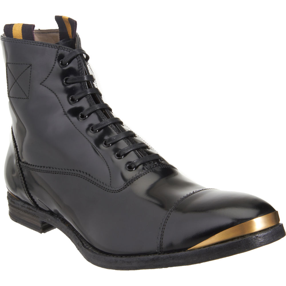 mcqueen metal trim derby boot in black for