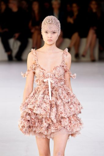 Alexander McQueen Spring 2012 Silk Chiffon Ruffled Mini Dress With Bow - Lyst