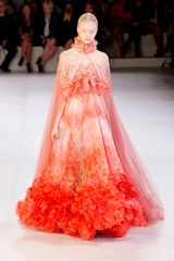 Alexander McQueen Spring 2012 Sleeveless Empire Line Gown With Ruffle Top and Exaggerated Ruffle Bottom