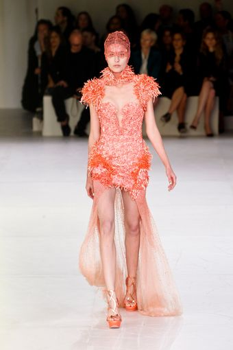 Alexander McQueen Spring 2012 Red Asymmetric Cut Out Embellished Dress - Lyst
